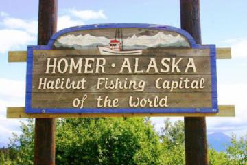 Heibutt-Stadt Homer in Alaska