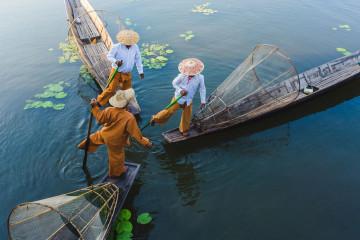 Fischer am Inle See in Myanmar