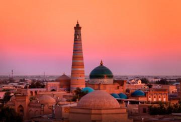 Sonnenuntergang Usbekistan Khiva Moschee Madrasah