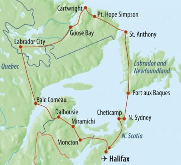 Ostkanada - Unentdecktes Labrador - Reiseroute