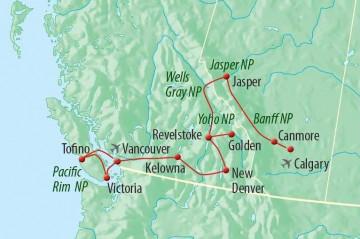 Westkanada Rundreise - Reiseroute