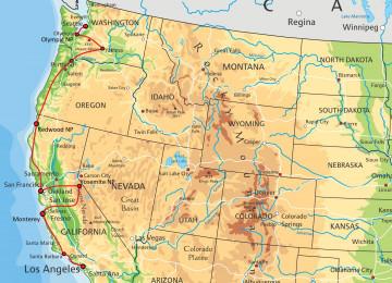 USA Reise Route