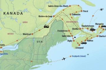 Reiseverlauf der Ostkanada Reise