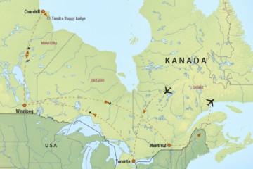 Reiseverlauf der Kanada Reise