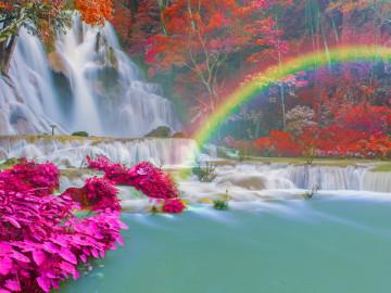 Laos Thailand Reise Wasserfall