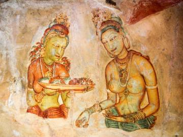 Sri Lanka Urlaub - Sigiriya Wolkenmädchen - Wandmalerei