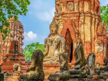 Thailand Reise: Buddha Statue Wat Mahathat Tempel - Ayutthaya
