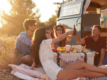 Camping mit Freunden