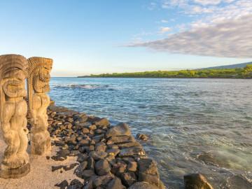 Hawaii Reise Honaunau Statuen