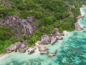 Luftaufnahme Anse Source d'Argent - Copyright Michel Denousse Tourism Seychelles